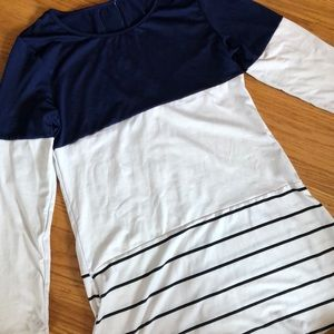 Color block and striped long sleeve shirt